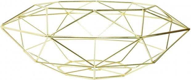 Decoratie Schaal Diamant Vorm Messing TD017942