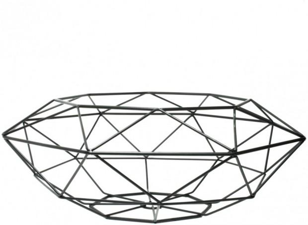 Decoratie Schaal Diamant Vorm Zwart TD017935