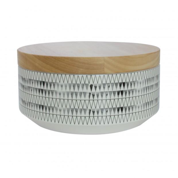 "TAK Design Voorraadpot Large ""Kuri Drizzle"" Wit - Met Houten Deksel TD015900"