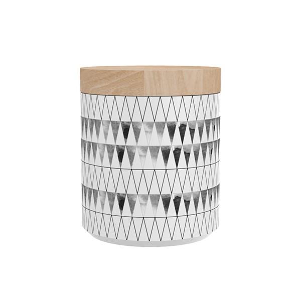"""TAK Design Voorraadpot """"Kuri Drizzle"""" Wit - Met Houten Deksel TD015917"""