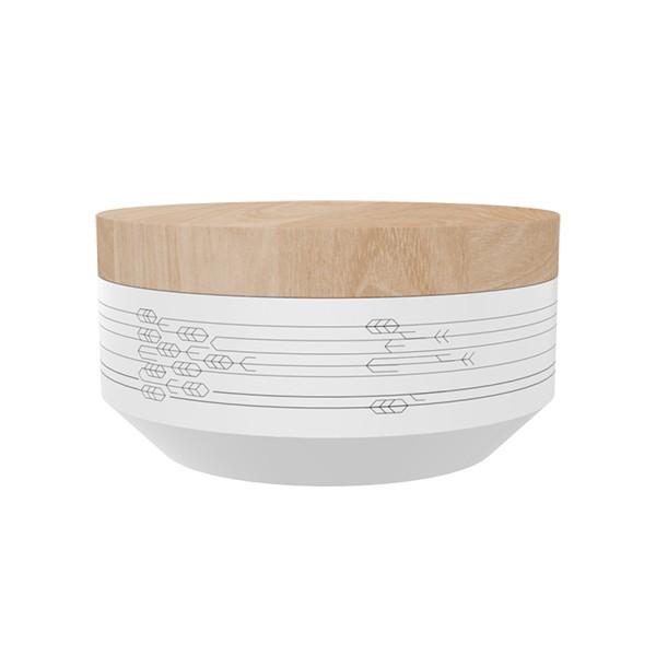 "TAK Design Voorraadpot Small ""Kuri Leaves"" Wit - Met Houten Deksel TD015924"