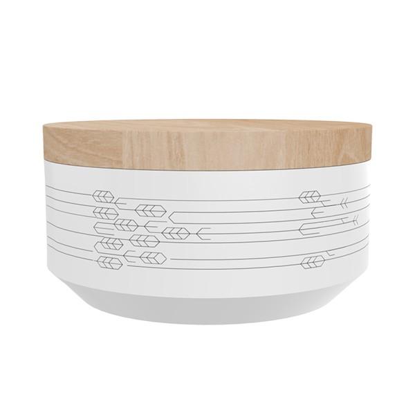 """TAK Design Voorraadpot Large """"Kuri Leaves"""" Wit - Met Houten Deksel  TD015931"""