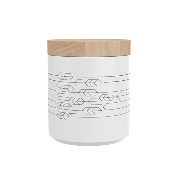 "TAK Design Voorraadpot ""Kuri Leaves"" Wit - Met Houten Deksel TD015948"