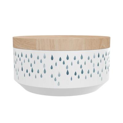 """TAK Design Voorraadpot Large """"Kuri Raindrops"""" Wit - Met Houten Deksel"""