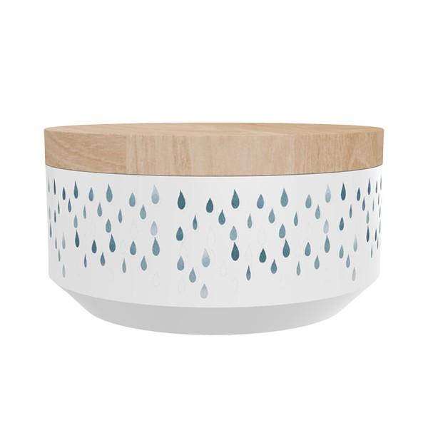 """TAK Design Voorraadpot Large """"Kuri Raindrops"""" Wit - Met Houten Deksel  TD015955"""