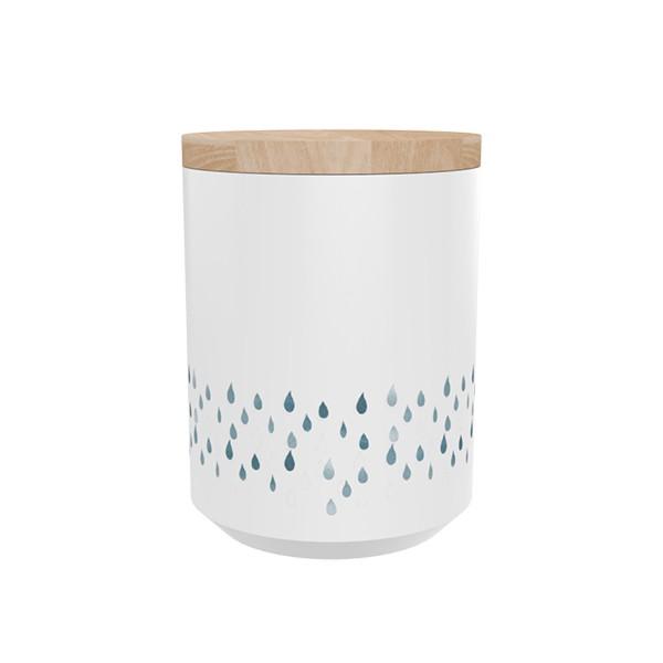 """TAK Design Voorraadpot """"Kuri Raindrops"""" Wit - Met Houten Deksel  TD015979"""