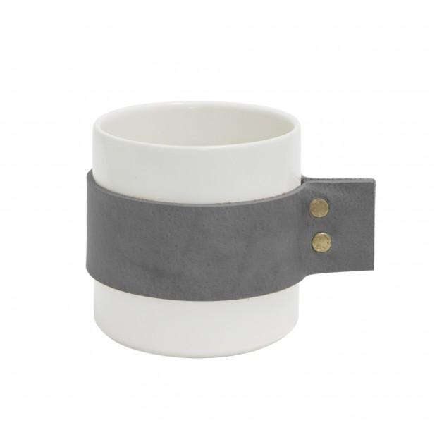 """TAK Design Beker """"Wrap Me Morgan"""" Grijs Leer TD015993"""