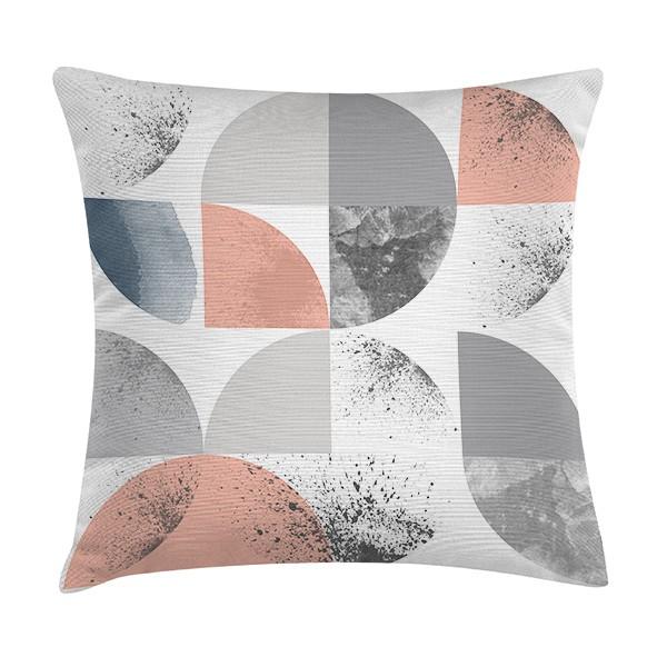 """Sierkussen """"Malte"""" 45 x 45 cm - Wit / Grijs en Roze TD016129"""