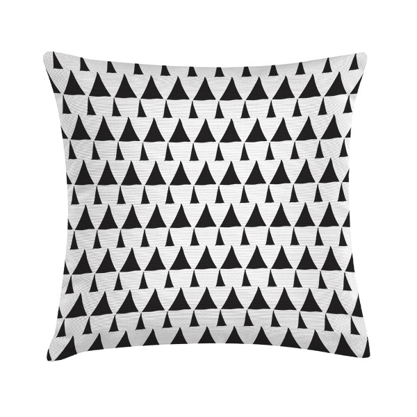 "Sierkussen ""Draw Triangles Pattern"" 45 x 45 cm - Zwart / Wit TD016280"
