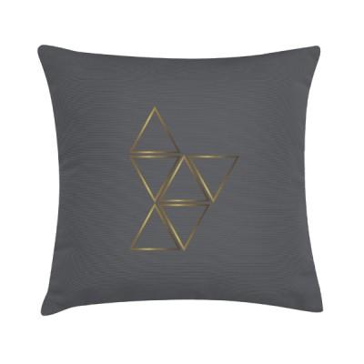"Sierkussen ""Gold Triangle"" 45 x 45 cm - Bruin Grijs / Goud"