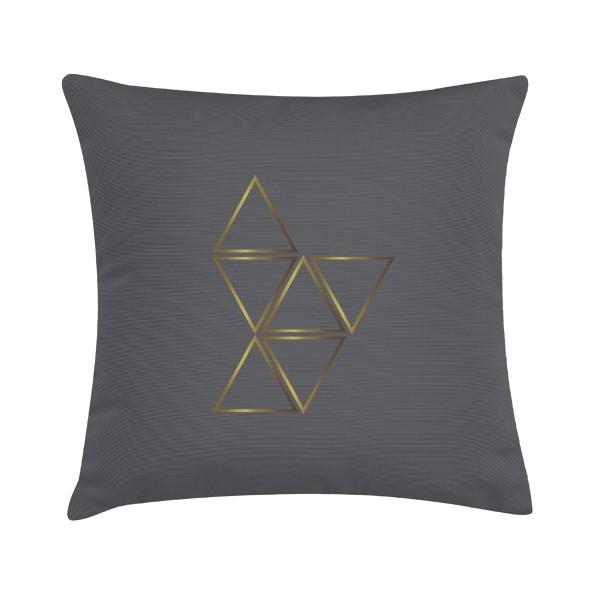 "Sierkussen ""Gold Triangle"" 45 x 45 cm - Bruin Grijs / Goud TD0162334"