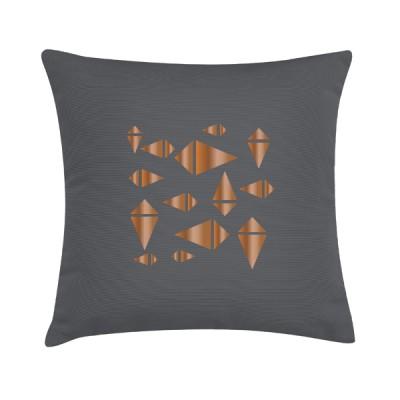 """TAK Design Sierkussen """"Copper Knite"""" 45 x 45 cm - Grijs / Koper"""