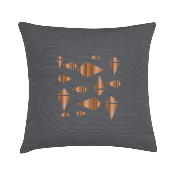 """Sierkussen """"Copper Knite"""" 45 x 45 cm - Bruin Grijs / Koper TD016341"""