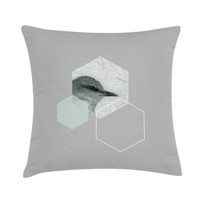 "Sierkussen ""Spring Bird Hexagon"" 45 x 45 cm - Grijs / Mint"