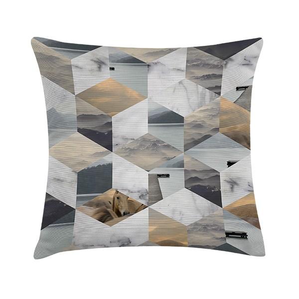 """Sierkussen """"Collage Cube"""" 45 x 45 cm Grafisch Patroon TD016419"""